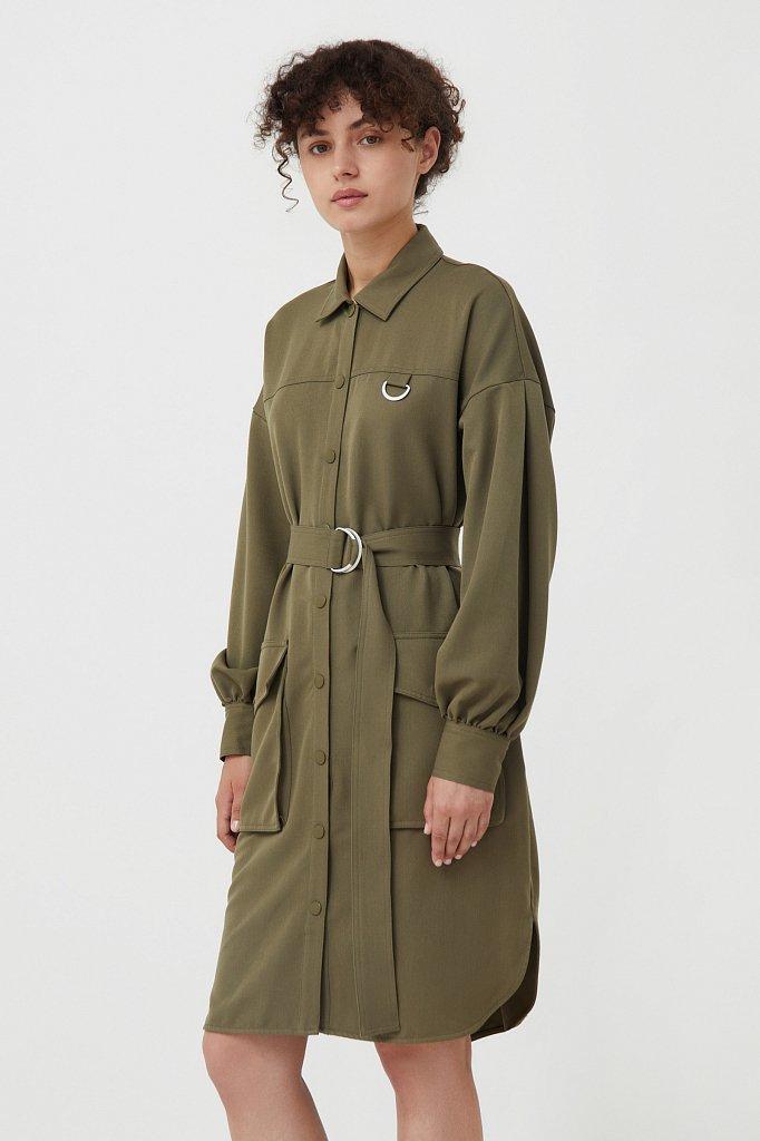 Платье-рубашка оверсайз с объемными рукавами, Модель FAB11011, Фото №4