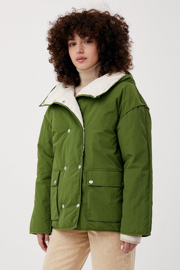 Утепленная двусторонняя куртка женская с капюшоном, Модель FAB110206, Фото №1