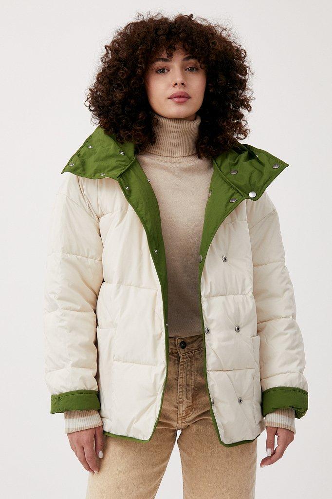 Утепленная двусторонняя куртка женская с капюшоном, Модель FAB110206, Фото №3