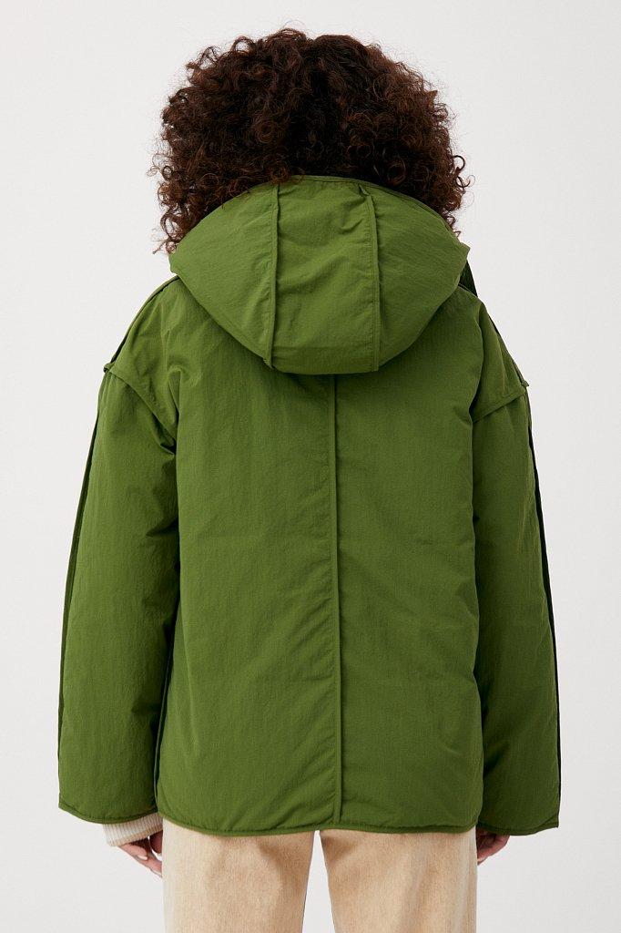 Утепленная двусторонняя куртка женская с капюшоном, Модель FAB110206, Фото №4