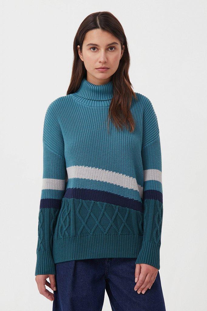 Женский свитер с различными вязанными узорами, Модель FAB11124, Фото №1