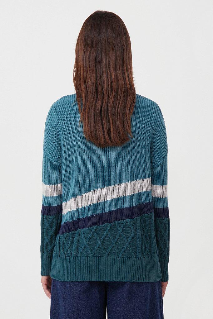 Женский свитер с различными вязанными узорами, Модель FAB11124, Фото №4