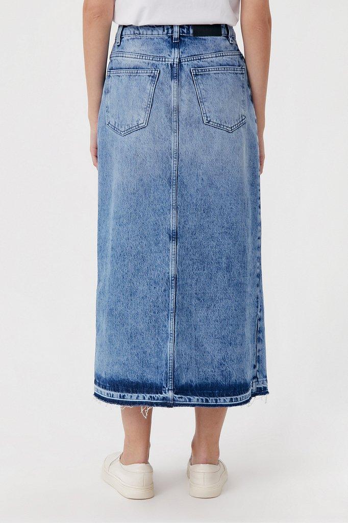 Джинсовая женская юбка с разрезом спереди, Модель FWB55001, Фото №4