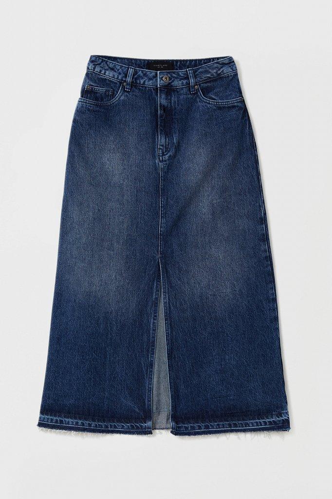 Джинсовая женская юбка с разрезом спереди, Модель FWB55001, Фото №6