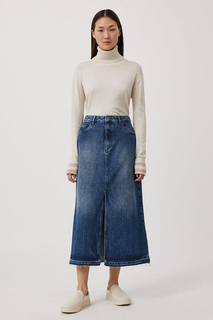Джинсовая женская юбка с разрезом спереди, Модель FWB55001, Фото №1