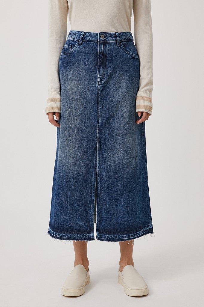 Джинсовая женская юбка с разрезом спереди, Модель FWB55001, Фото №2