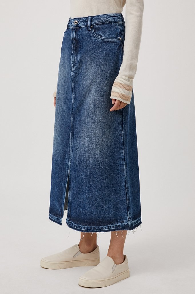 Джинсовая женская юбка с разрезом спереди, Модель FWB55001, Фото №3
