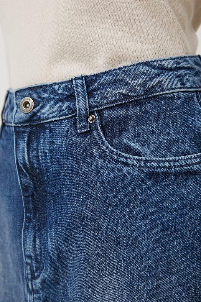 Джинсовая женская юбка с разрезом спереди, Модель FWB55001, Фото №5