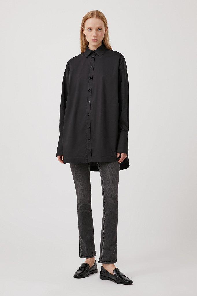 Удлиненная женская рубашка оверсайз с манжетами, Модель FWB51033, Фото №2