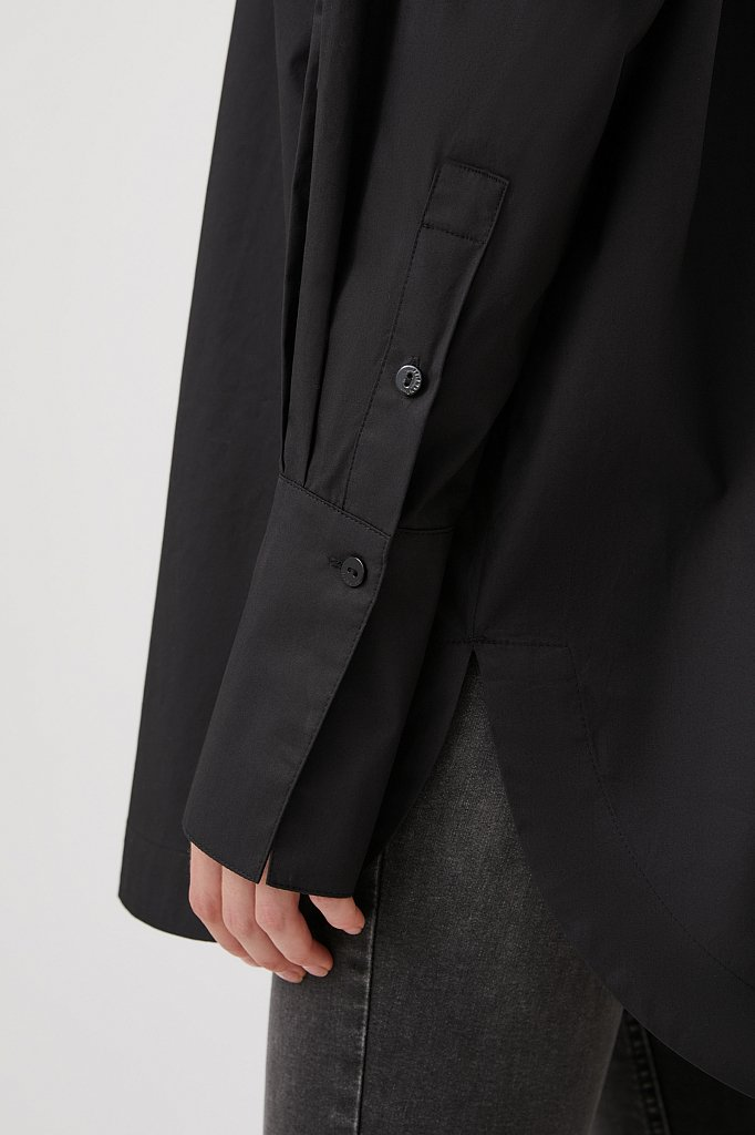 Удлиненная женская рубашка оверсайз с манжетами, Модель FWB51033, Фото №4