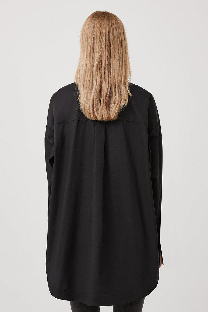 Удлиненная женская рубашка оверсайз с манжетами, Модель FWB51033, Фото №5