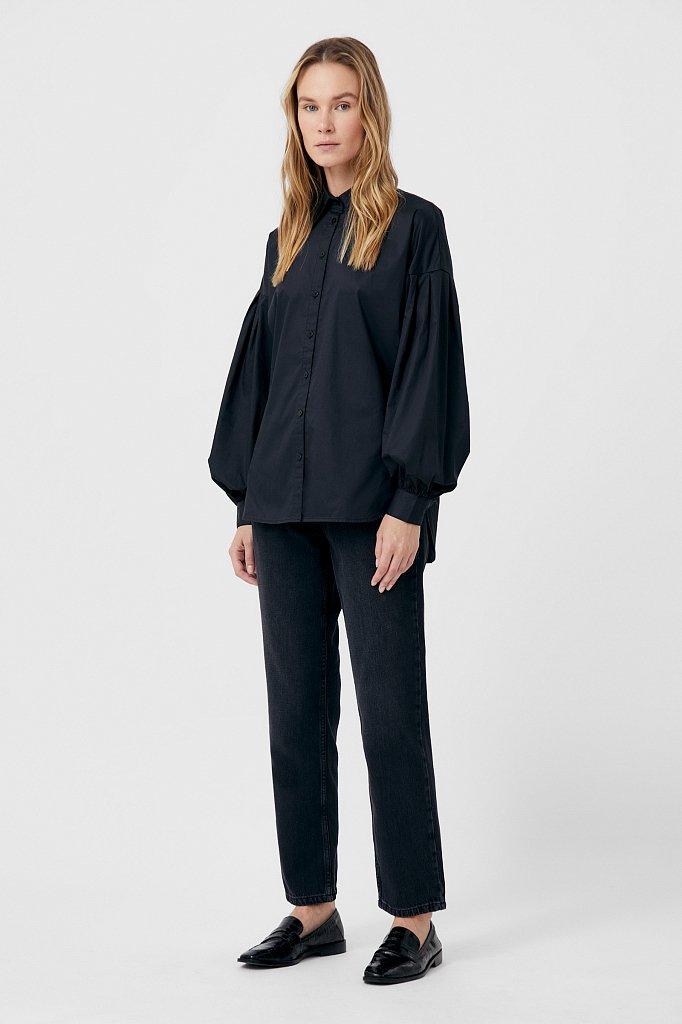 Рубашка женская с объемными рукавами из хлопка, Модель FWB51034, Фото №2