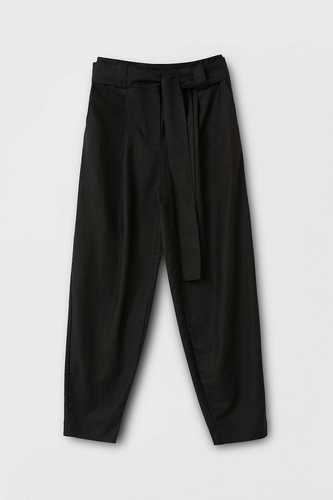 Свободные женские брюки с защипами и поясом, Модель FWB51035, Фото №6