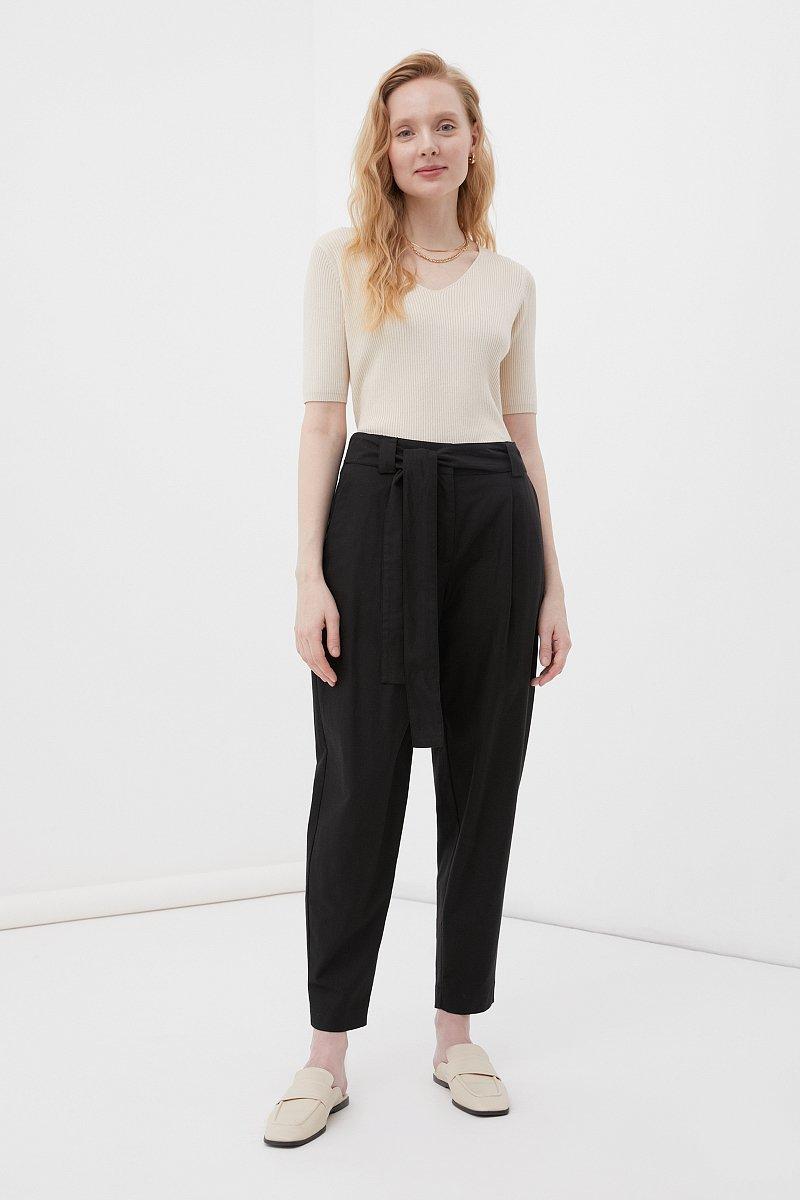 Свободные женские брюки с защипами и поясом, Модель FWB51035, Фото №1