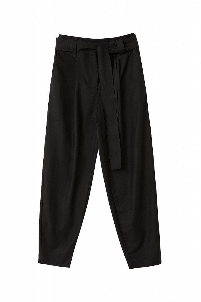 Свободные женские брюки с защипами и поясом, Модель FWB51035, Фото №7