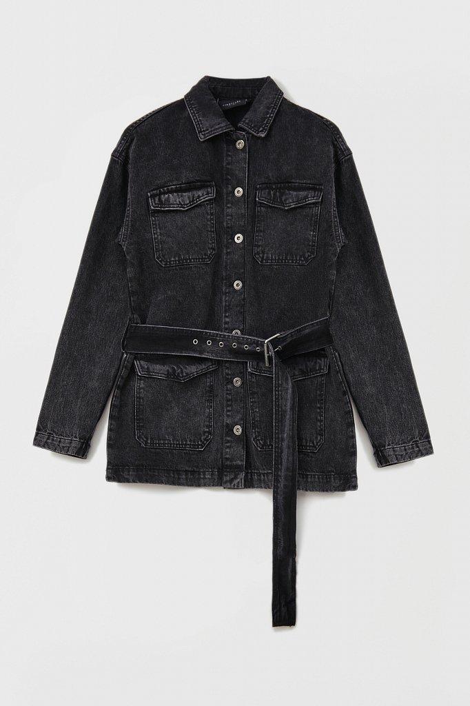 Джинсовая женская куртка в стиле милитари с поясом, Модель FWB55003, Фото №7