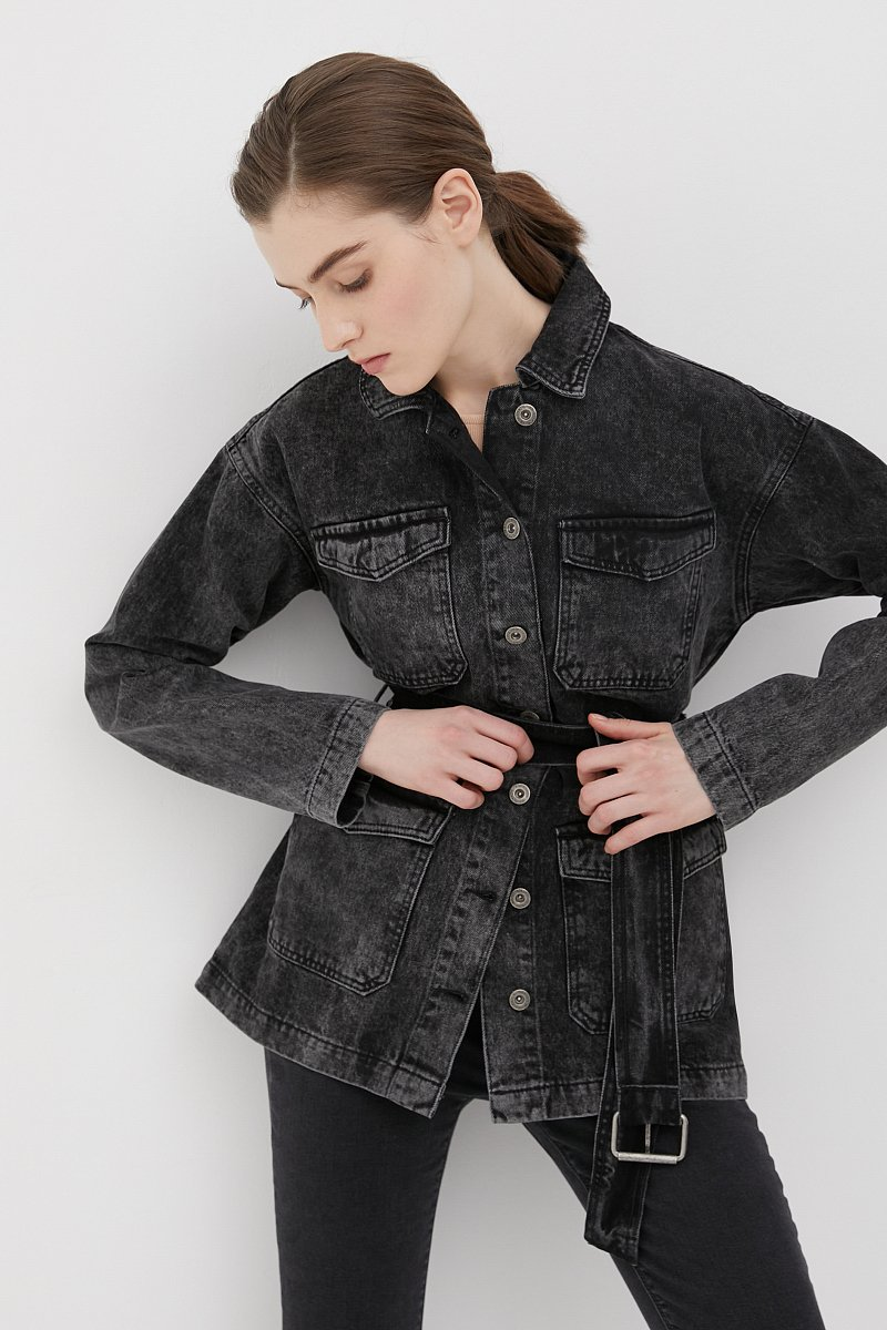 Джинсовая женская куртка в стиле милитари с поясом, Модель FWB55003, Фото №1