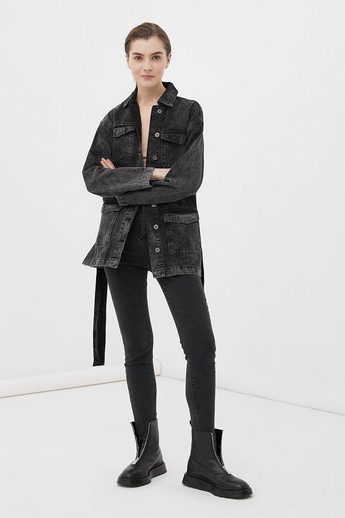 Джинсовая женская куртка в стиле милитари с поясом, Модель FWB55003, Фото №2