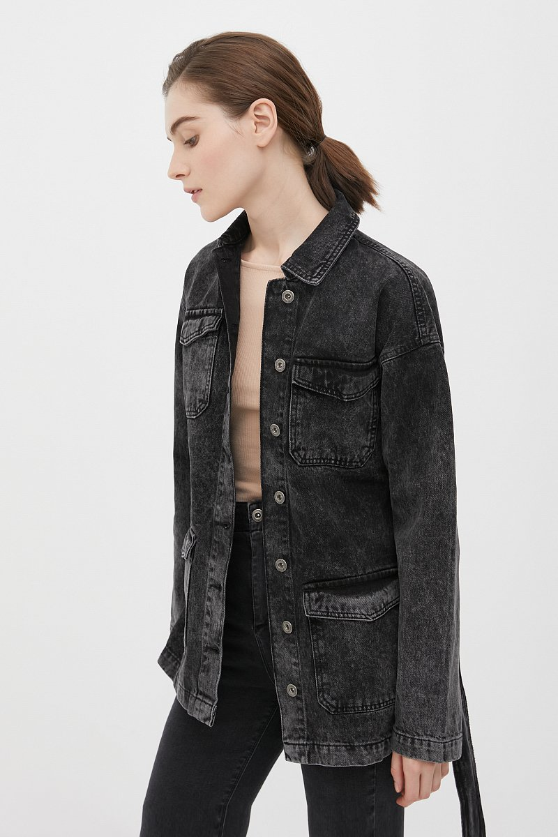 Джинсовая женская куртка в стиле милитари с поясом, Модель FWB55003, Фото №3