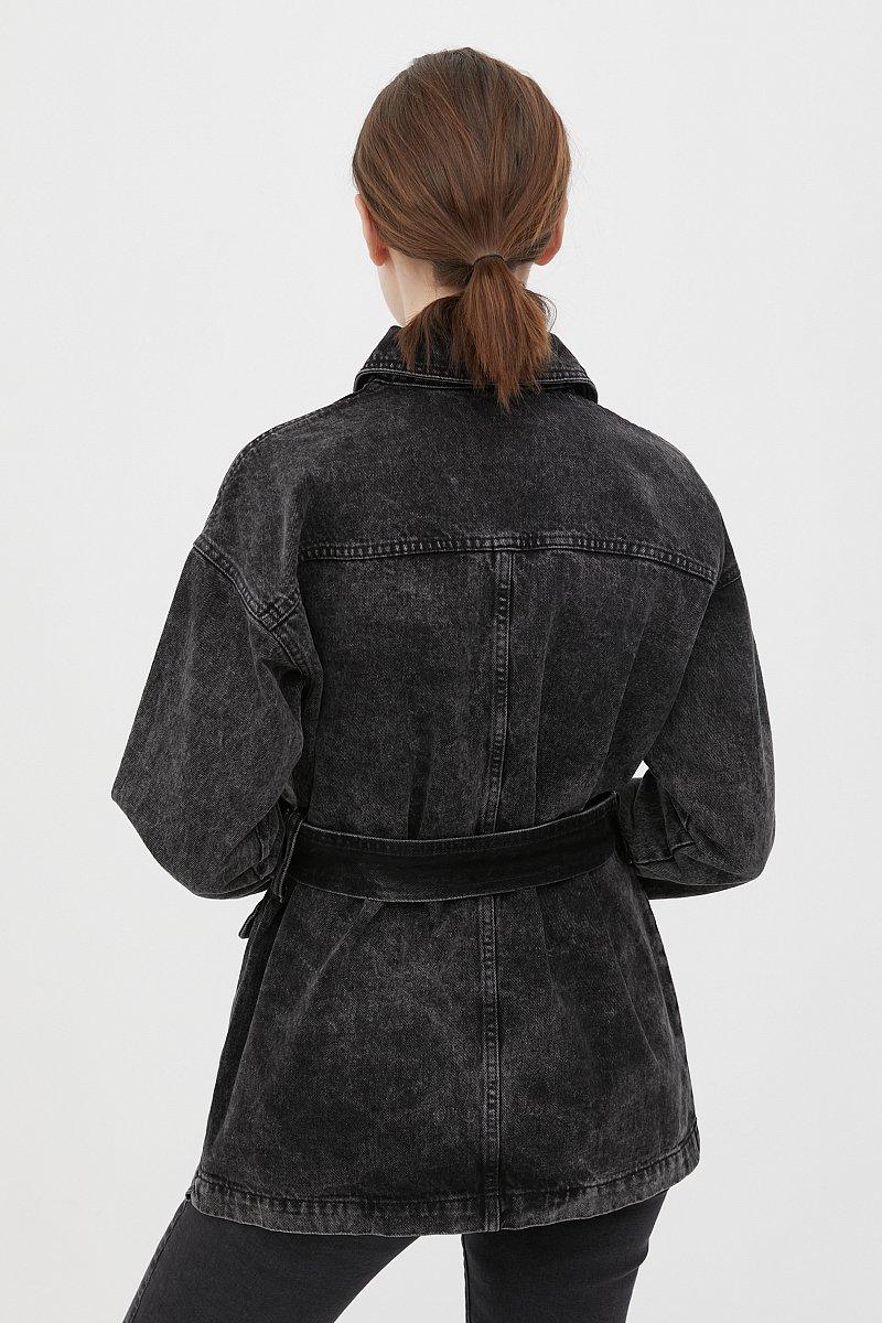 Джинсовая женская куртка в стиле милитари с поясом, Модель FWB55003, Фото №4