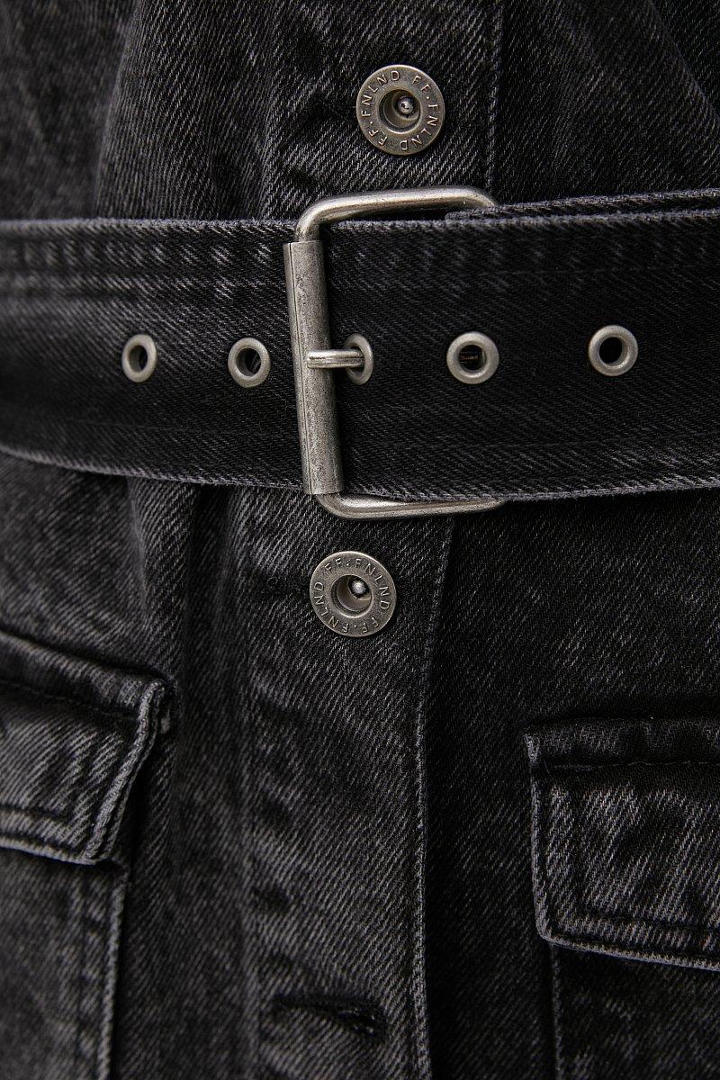 Джинсовая женская куртка в стиле милитари с поясом, Модель FWB55003, Фото №6