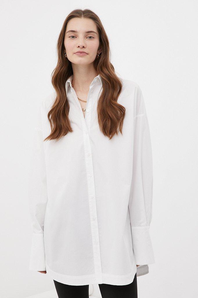 Удлиненная женская рубашка оверсайз с манжетами, Модель FWB51033, Фото №1