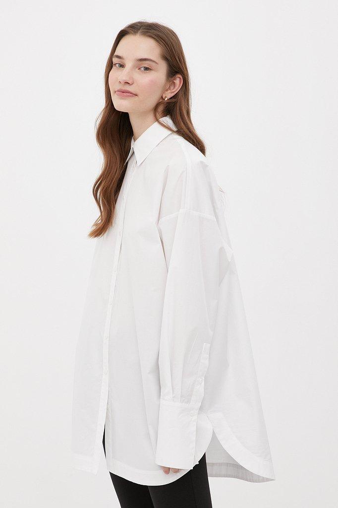 Удлиненная женская рубашка оверсайз с манжетами, Модель FWB51033, Фото №3