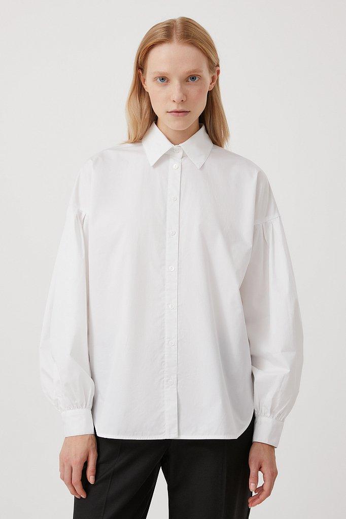 Рубашка женская с объемными рукавами из хлопка, Модель FWB51034, Фото №1