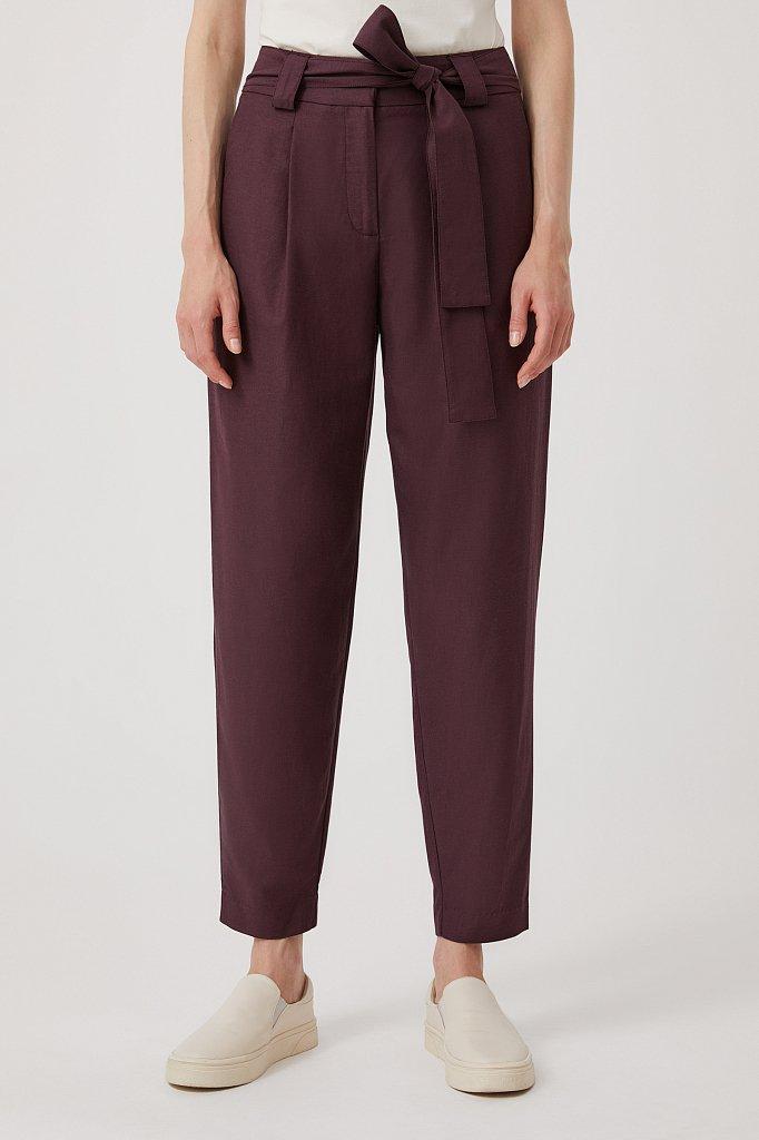 Свободные женские брюки с защипами и поясом, Модель FWB51035, Фото №2
