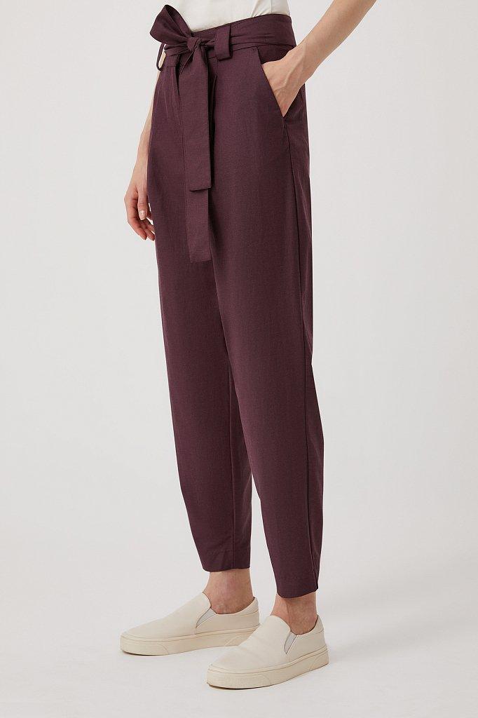 Свободные женские брюки с защипами и поясом, Модель FWB51035, Фото №3