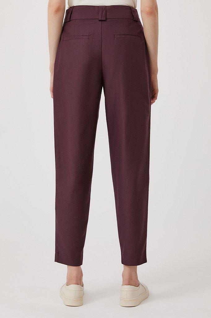 Свободные женские брюки с защипами и поясом, Модель FWB51035, Фото №4