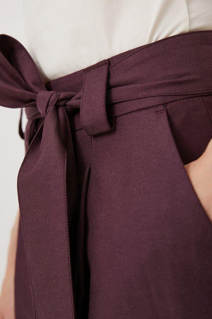 Свободные женские брюки с защипами и поясом, Модель FWB51035, Фото №5