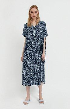 Свободное платье с принтом и завязками S21-14000
