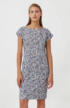 Прямое платье с растительным узором S21-14086