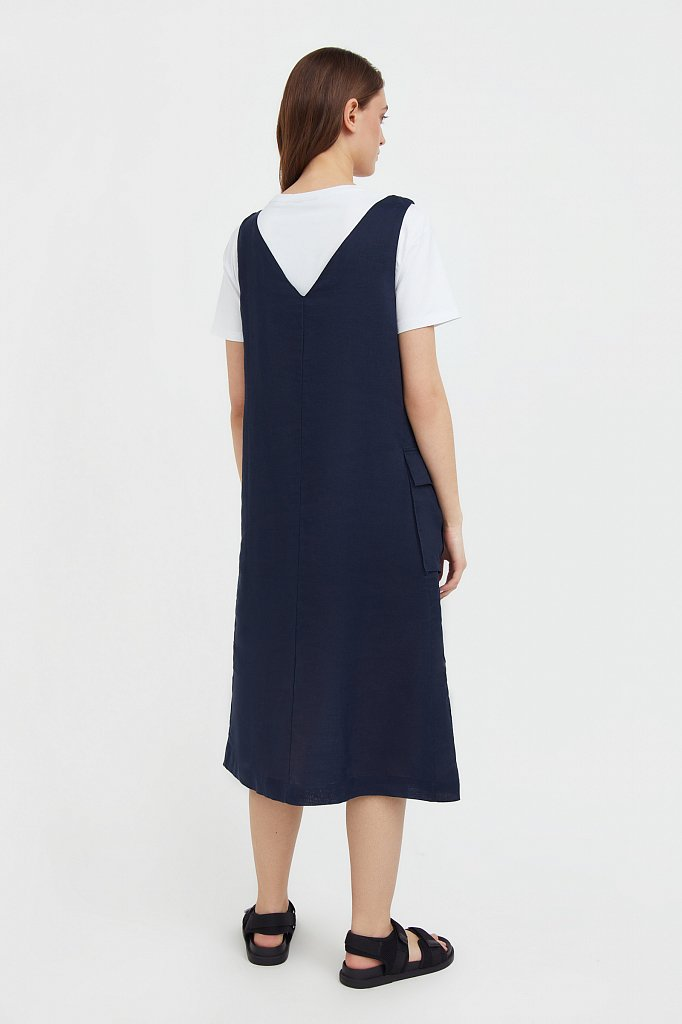 Платье прямого кроя из натуральной ткани рами, Модель S21-110115, Фото №4