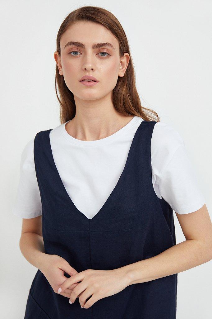 Платье прямого кроя из натуральной ткани рами, Модель S21-110115, Фото №6