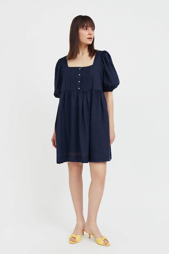 Платье-мини из натуральной ткани рами, Модель S21-110116, Фото №1