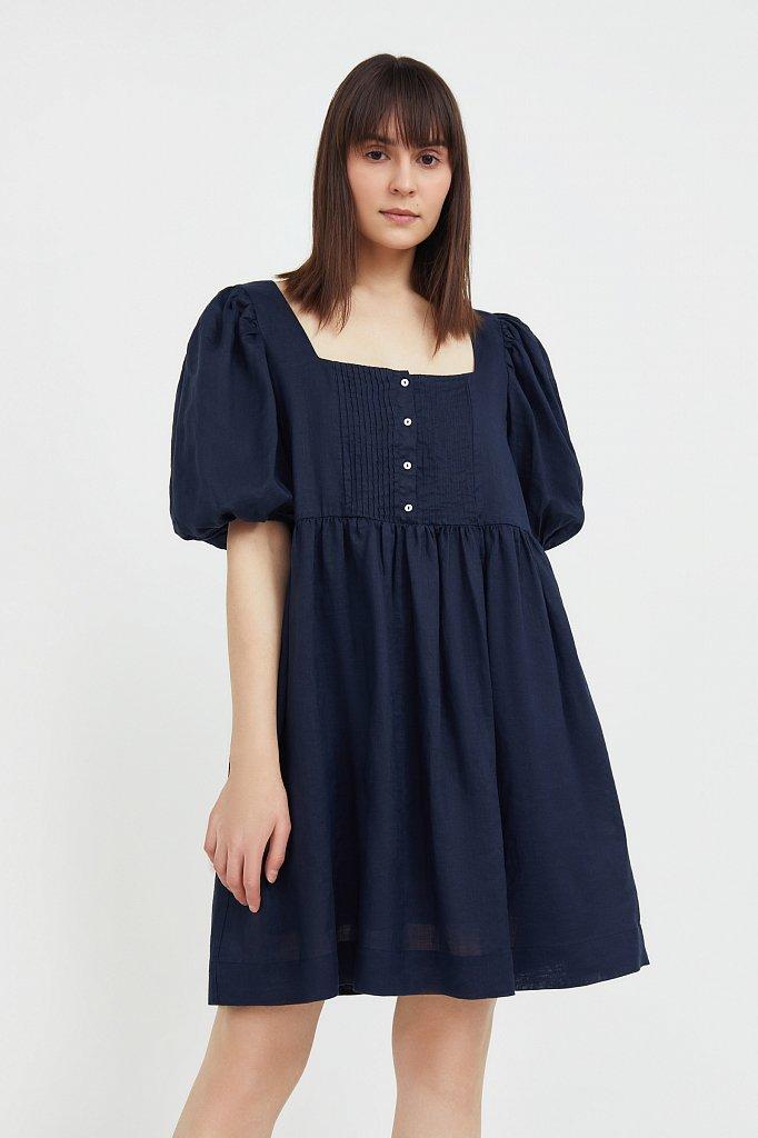 Платье-мини из натуральной ткани рами, Модель S21-110116, Фото №2