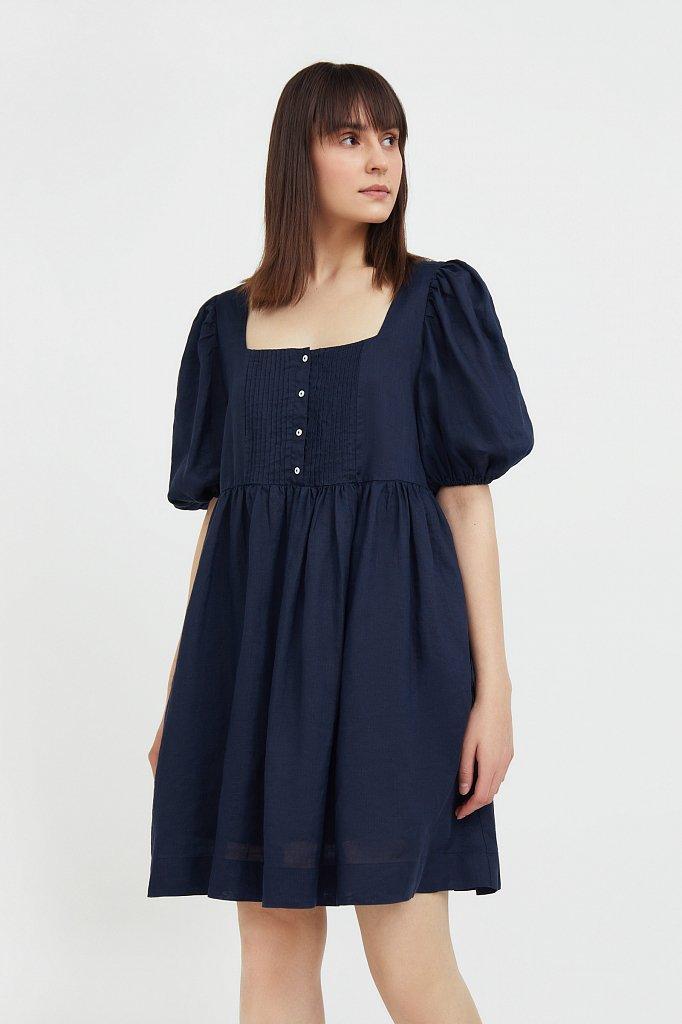 Платье-мини из натуральной ткани рами, Модель S21-110116, Фото №3