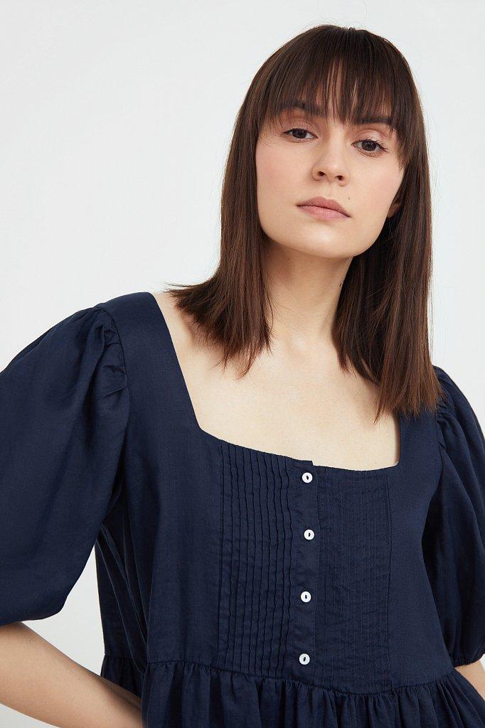 Платье-мини из натуральной ткани рами, Модель S21-110116, Фото №6