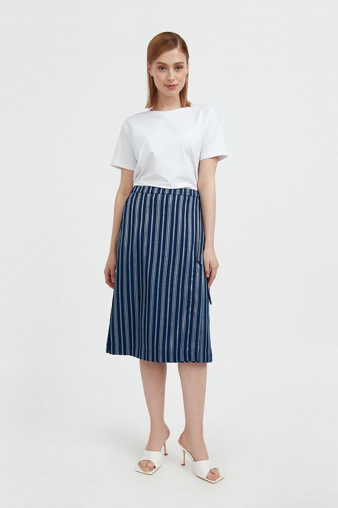 Полосатая юбка миди с запахом, Модель S21-110117, Фото №1
