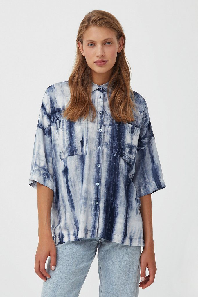 Рубашка с рисунком тай дай, Модель S21-11021, Фото №1