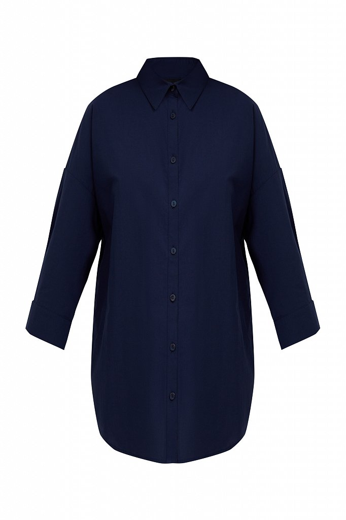 Свободная хлопковая рубашка, Модель S21-11029, Фото №7