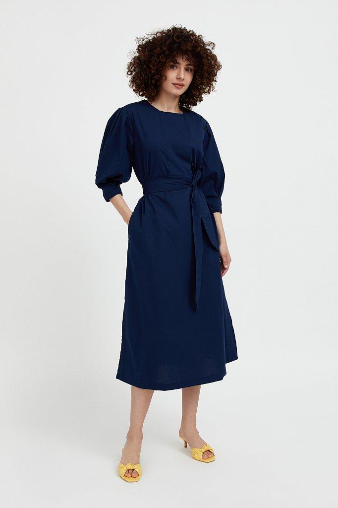 Хлопоковое платье миди с поясом, Модель S21-11052, Фото №2