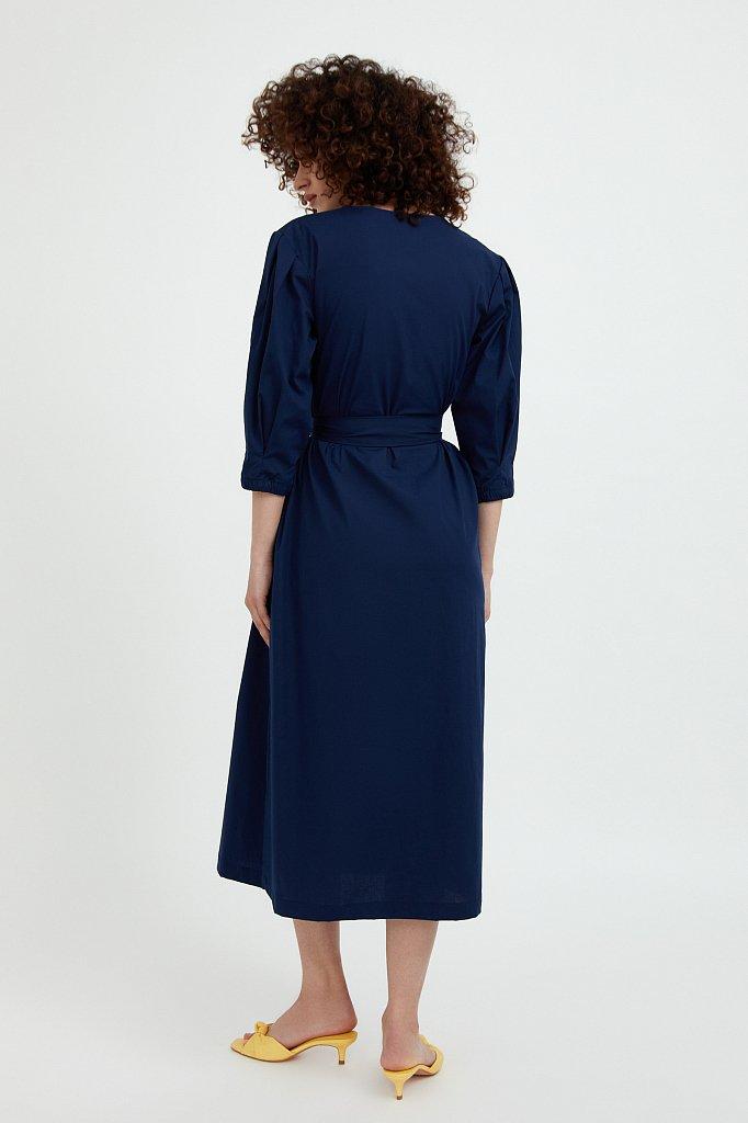 Хлопоковое платье миди с поясом, Модель S21-11052, Фото №4