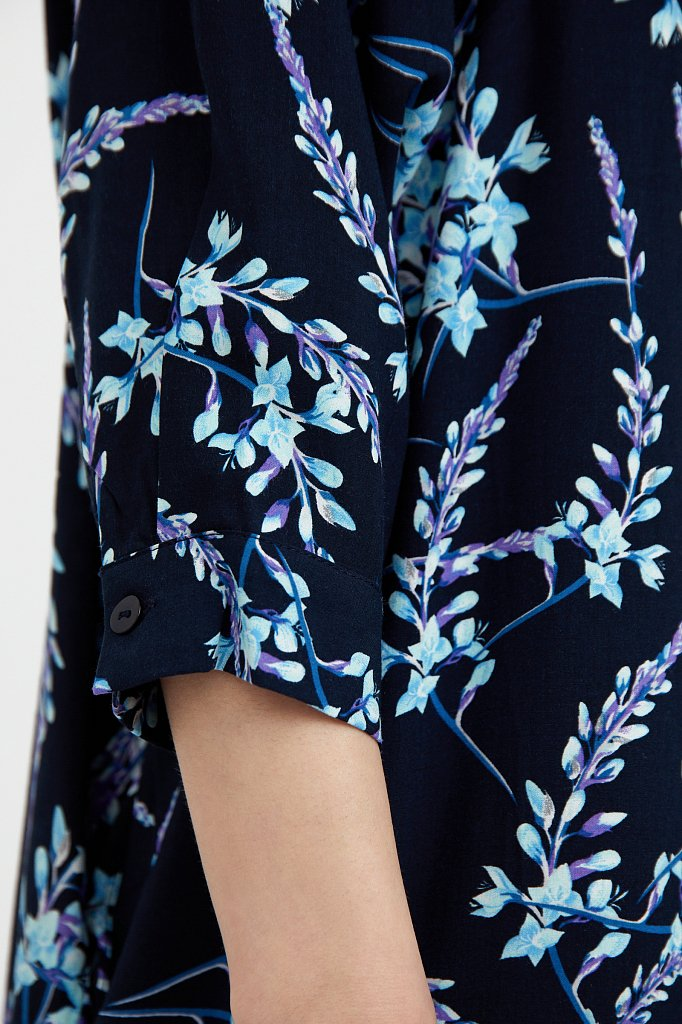 Платье-рубашка с растительным принтом, Модель S21-11066, Фото №5