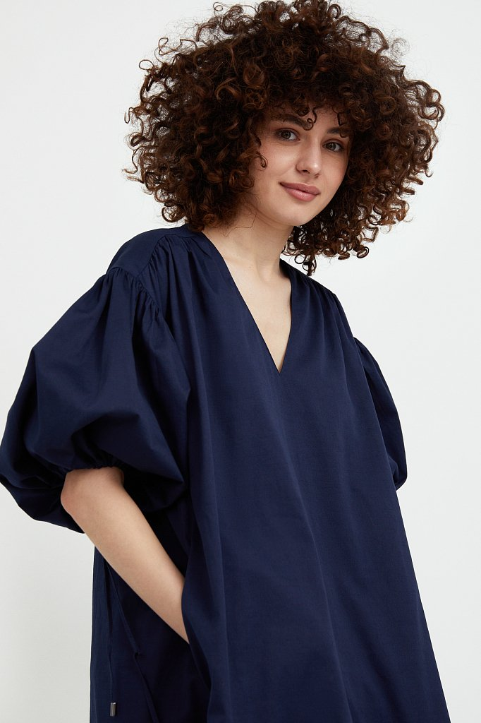 Хлопковое платье с объемными рукавами, Модель S21-11080, Фото №6
