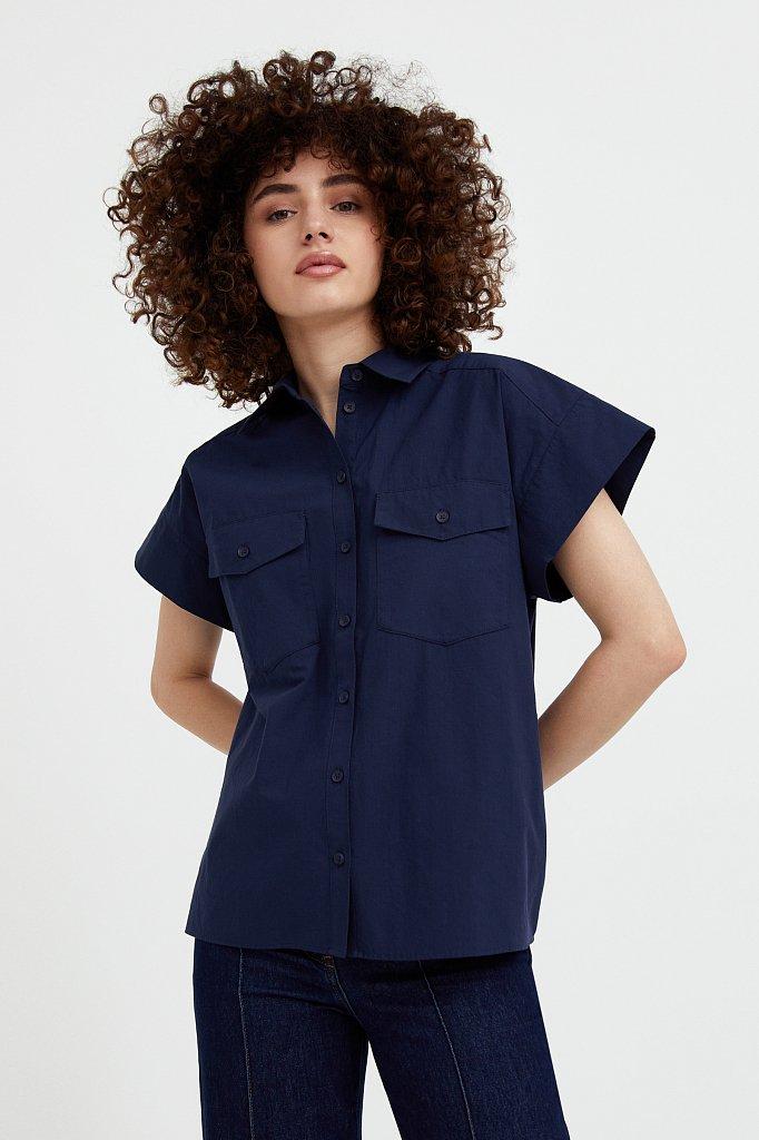 Хлопковая рубашка с короткими рукавами, Модель S21-11082, Фото №1