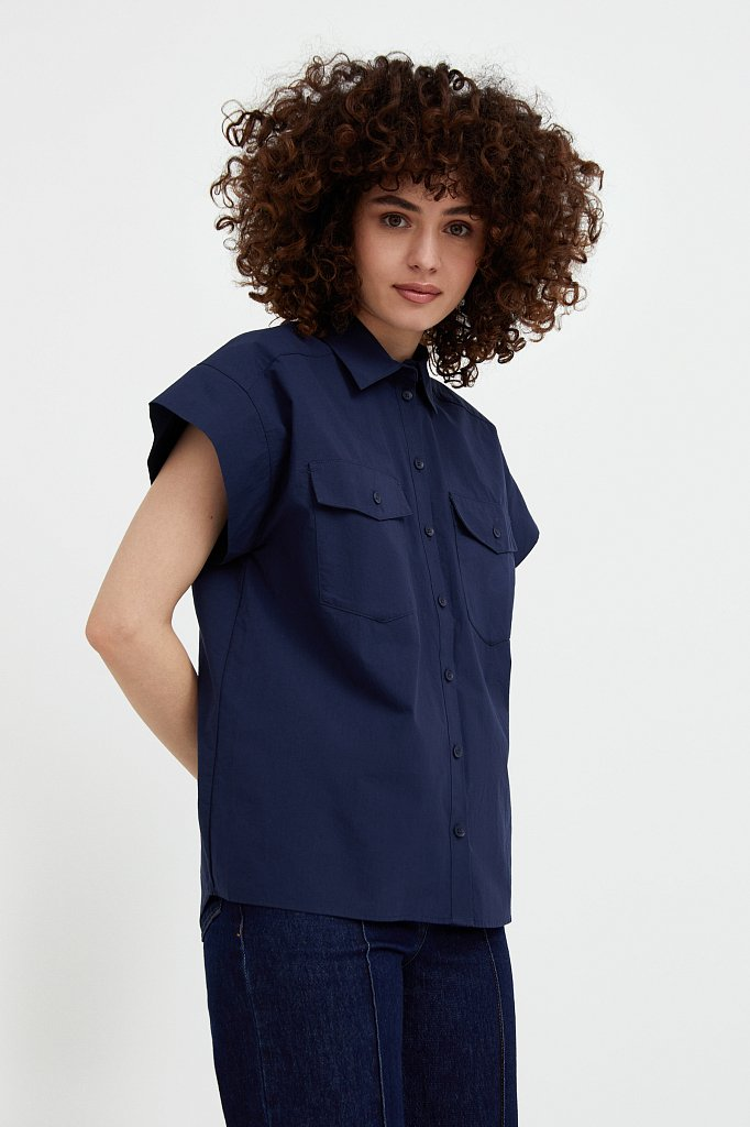 Хлопковая рубашка с короткими рукавами, Модель S21-11082, Фото №3