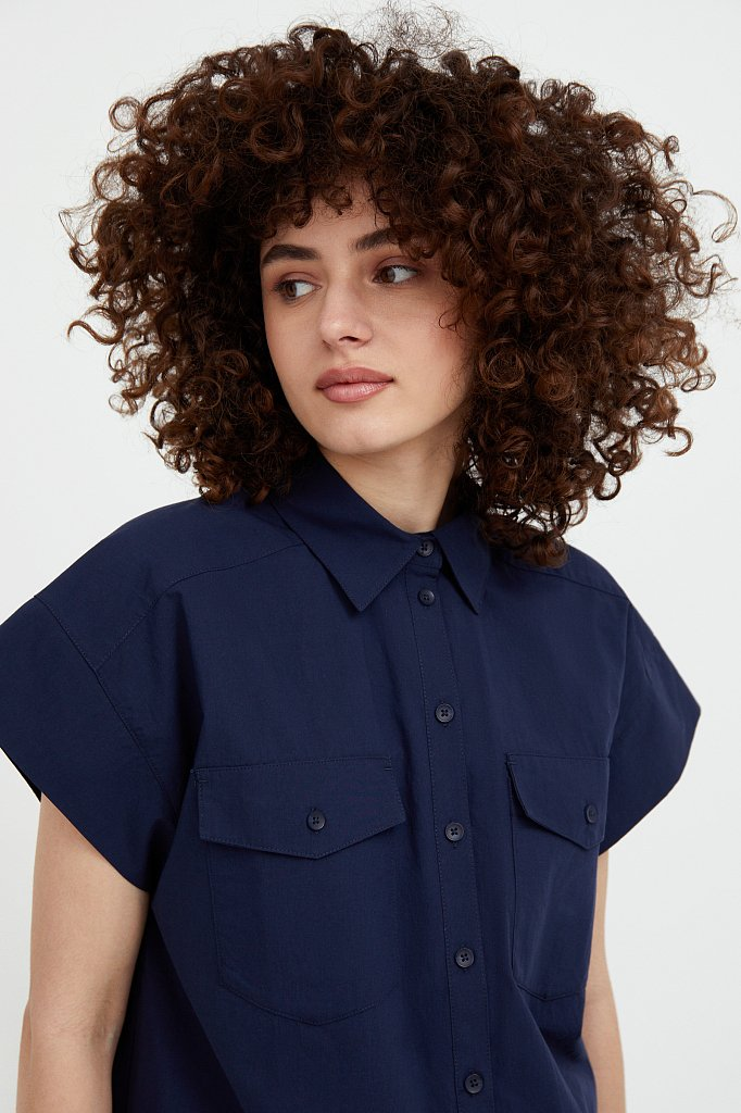 Хлопковая рубашка с короткими рукавами, Модель S21-11082, Фото №6